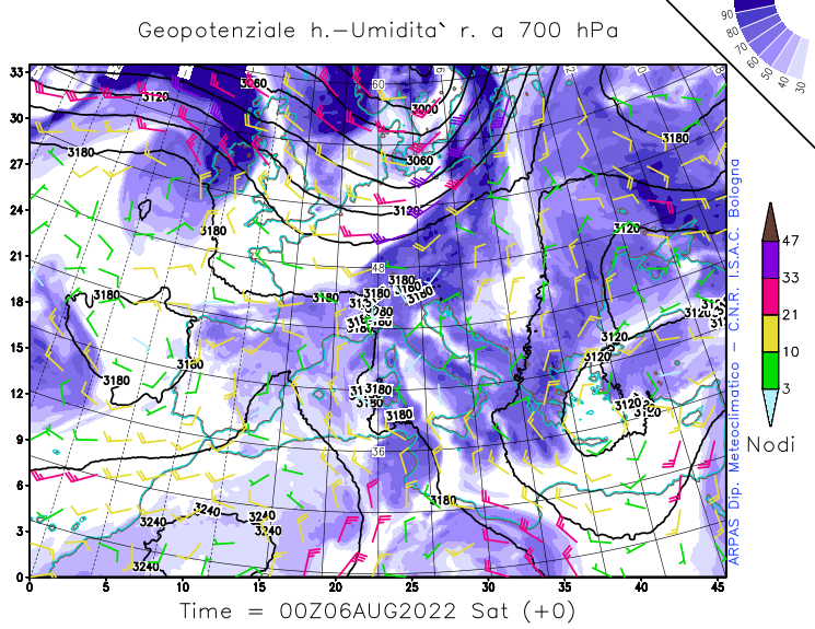 Geopotential height, wind, relative humidity at 700 hPa