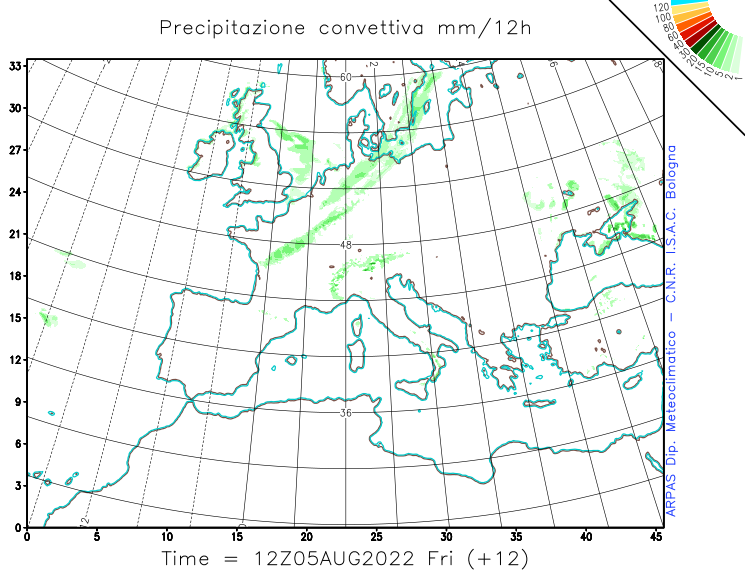 Convective precipitation (accumulated in 12h)