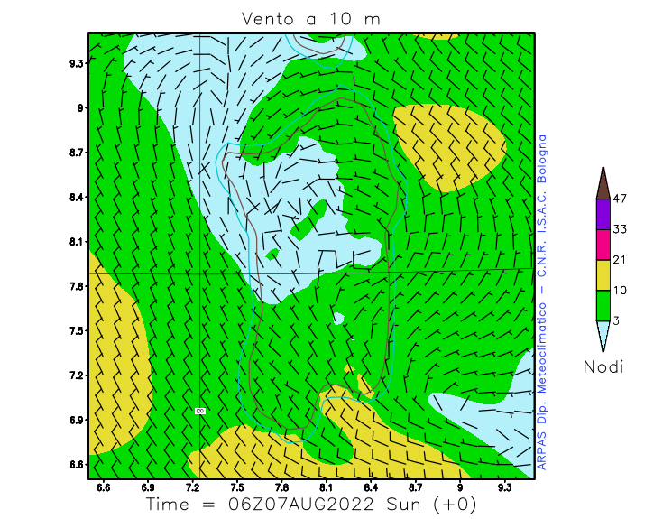 Wind at 10m (greater detail on Sardinia)